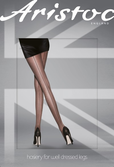 Glamouröse glänzende Strumpfhose mit Muster in Naht- und Netzoptik von Aristoc, hautfarben-schwarz, Gr. S/M