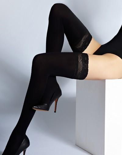 blickdichter halterloser strumpf mit elegantem zierband. Black Bedroom Furniture Sets. Home Design Ideas