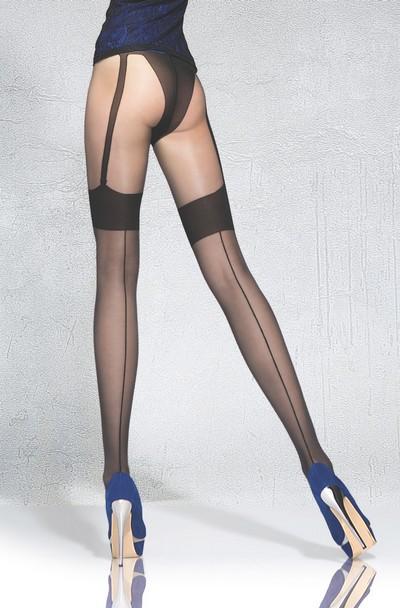 Betörend schöne Strumpfhose in Strapsoptik und Naht Beverly von Fiore, schwarz, Gr. S