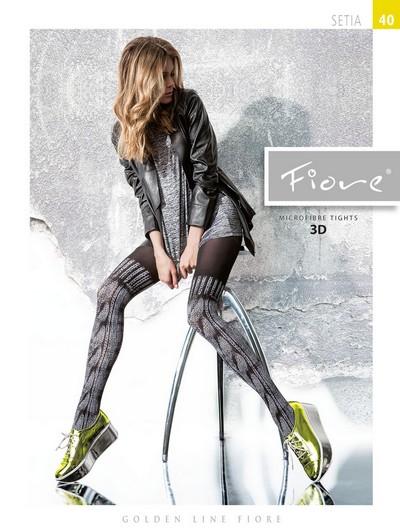 Modische Strumpfhose in raffiniertem Overknee-Look Setia von Fiore, schwarz-weiß, Gr. S