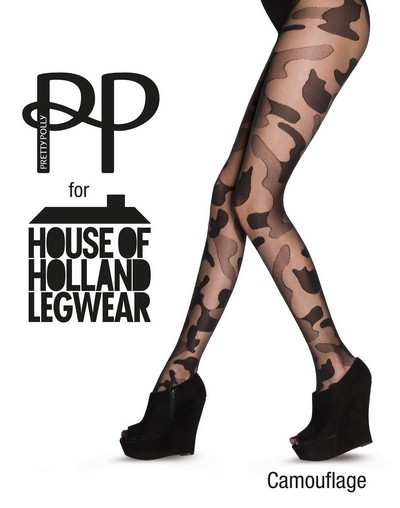Strumpfhose mit Muster in angesagter Camouflage-Optik von House of Holland for Pretty Polly