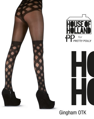 Strumpfhose mit extravagantem Muster im Overknee-Look Gingham Over The Knee von House of Holland for Pretty Polly