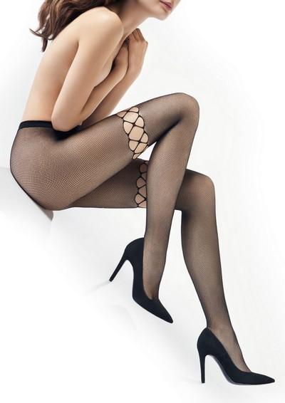 Bezaubernde weiche Netzstrumpfhose mit nahtlosem Höschenteil Charly von Marilyn, schwarz, Gr. S/M