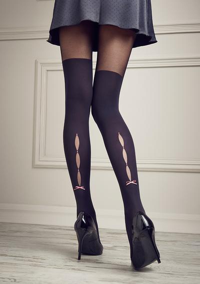 Strumpfhose mit Overknee-Optik und Taillenbund aus Spitze aus der Kollektion Patrizia Gucci for Marilyn