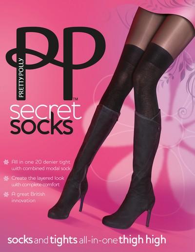 Überkniestrümpfe und Strumpfhose in Einem Secret Socks von Pretty Polly